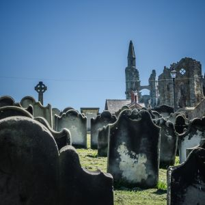 Grave yard with headstones