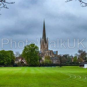 Norwich Cathedral​ across playing fields - Photo Walk UK