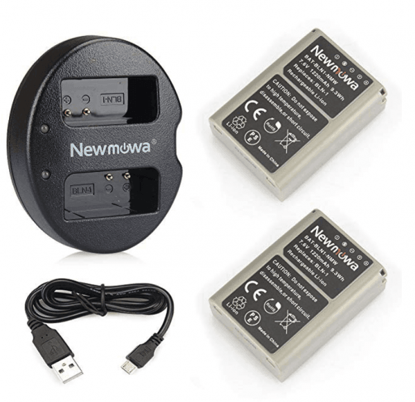 Newmowa BLN-1 Replacement Battery (2-Pack) and Dual USB Charger for Olympus BLN-1, BCN-1 and Olympus OM-D E-M1, OM-D E-M5, PEN E-P5, OM-D E-M5 II 1