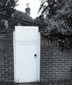 White Garden Gate Leading to an English cottage - Photo Walk UK