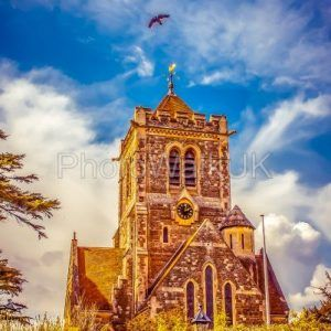 Dramatic English church against blue sky - Photo Walk UK