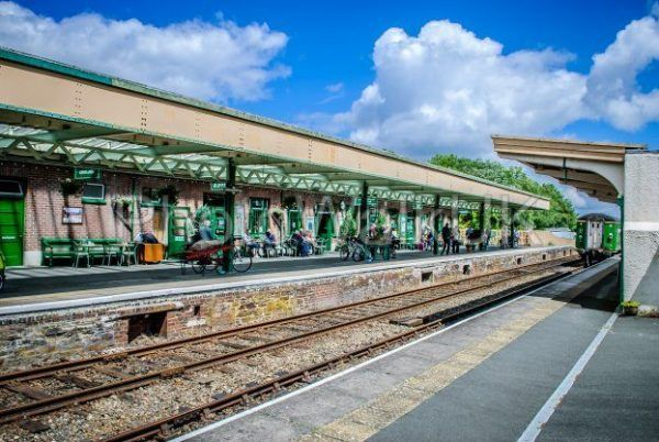 Okehampton rail station, Devon, England. July 1 2012. Station platform - Photo Walk UK