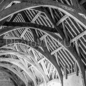 Intricate wooden roof interior of old hall - Photo Walk UK