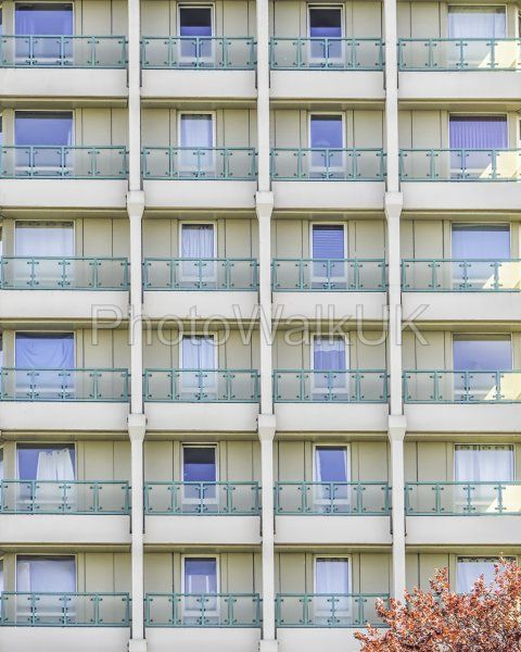 Concrete Tower Block  - Windows and Balconies  - Bracknell Berkshire England