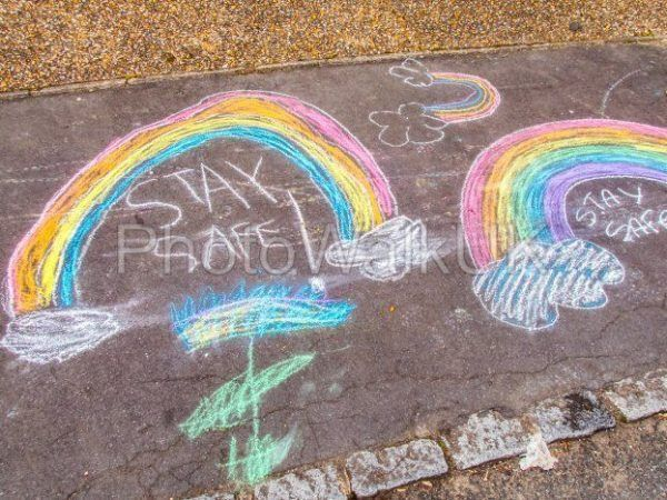 Stay Safe Chalk Drawing Words and Rainbow on Pavement - Photo Walk UK